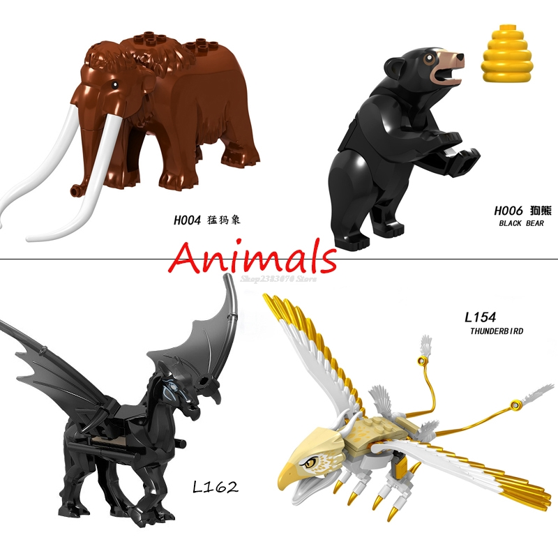 Legoing Animal Figures Black Bear Nightingale Mammoth Thunderbird Tiger Toys Building Blocks Toy For Children Legoing Block Sets