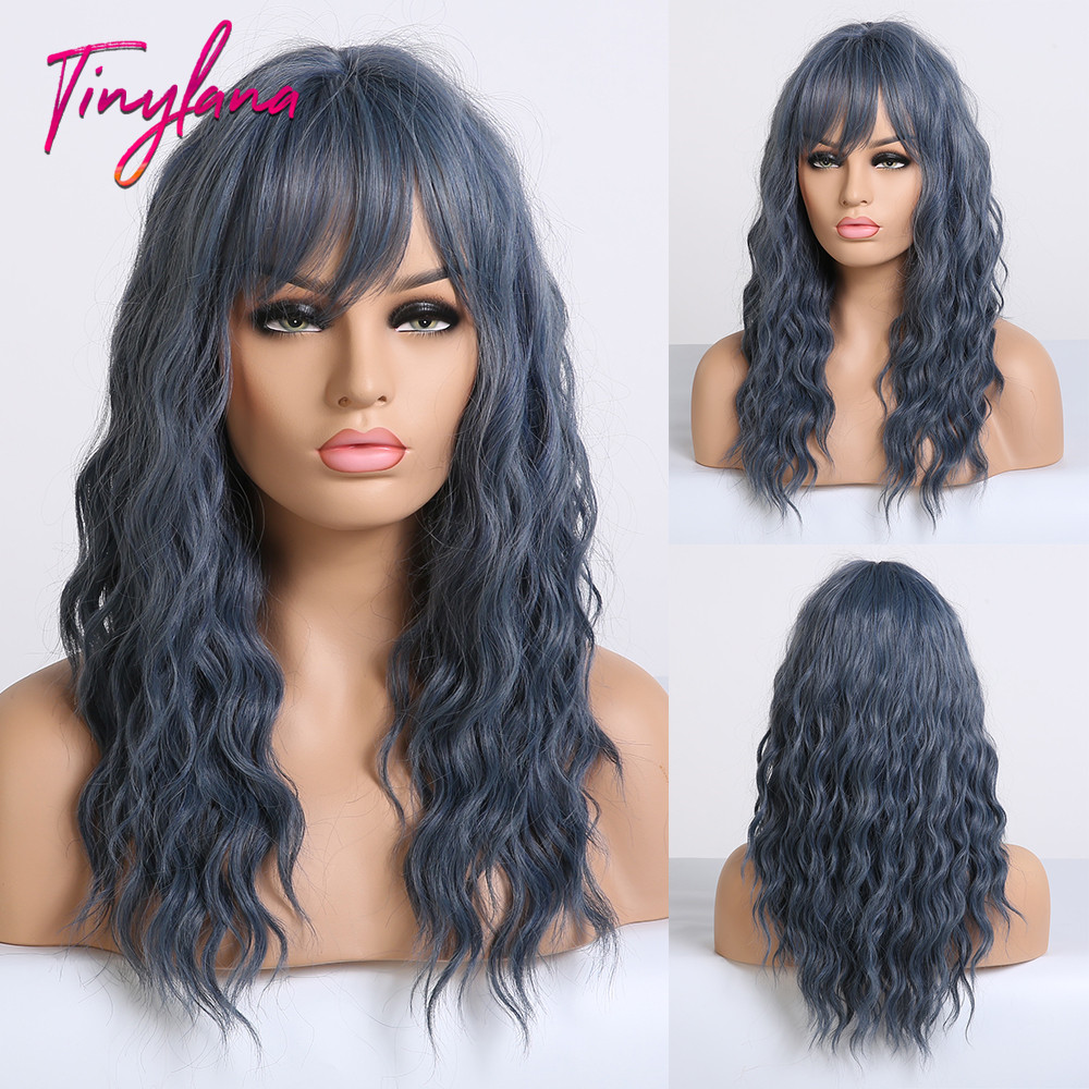TINY LANA Blue Wavy Wigs with Bangs Synthetic Wigs for Women Lolita Cosplay Wigs Medium Length High Temperature Fake Hair title=