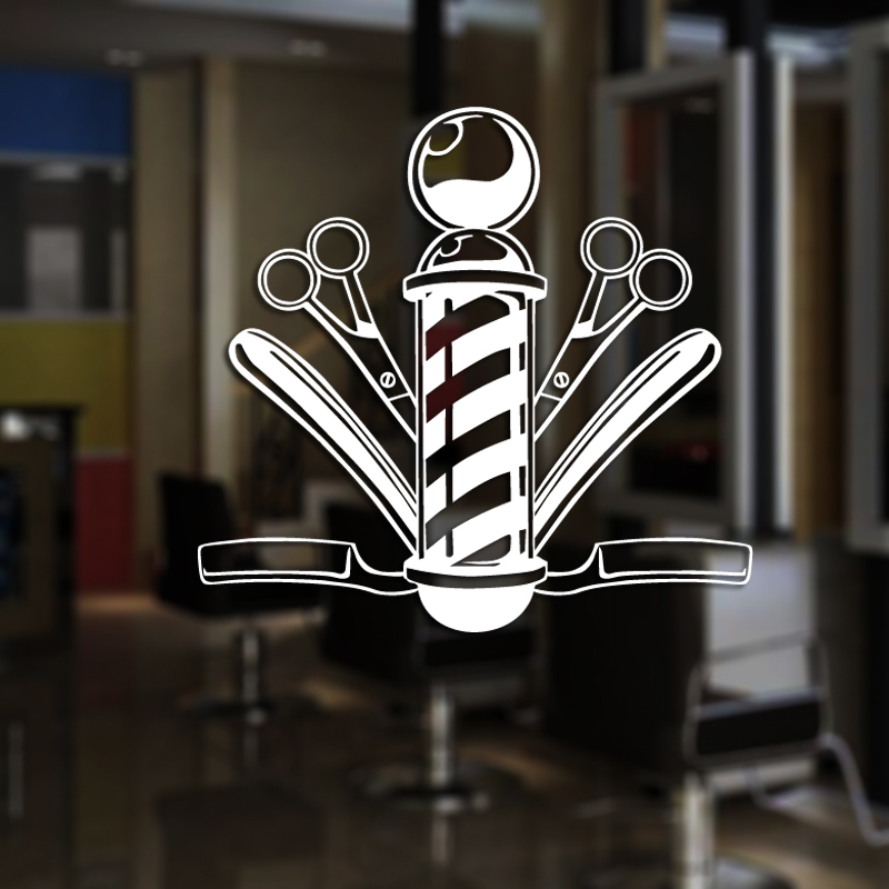 Man Barber Shop Sticker Name Chop Bread Decal Haircut Shavers Posters Vinyl Wall Art Decals Decor Windows Decoration Mural