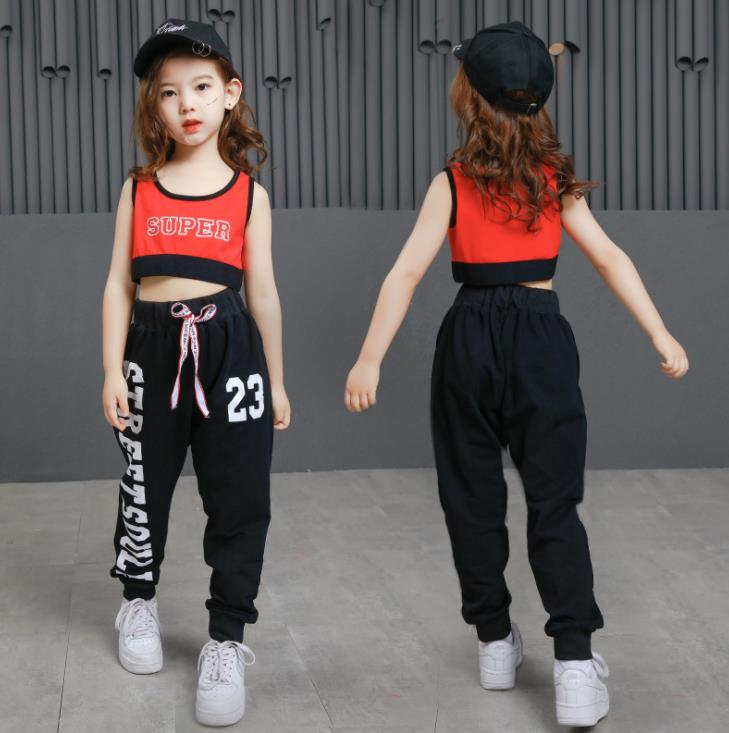 New Kids Jazz Hiphop Dance Costumes For Girls Cotton Black Letter Crop Top And Pant Children Sport Suit Teen Girls Clothing 2020