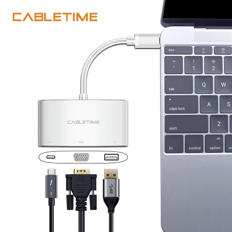Кабель USB C концентратор для VGA адаптер 3 в 1 0 PD Тип конвертер 60 Гц Macbook Chromebook N077|to