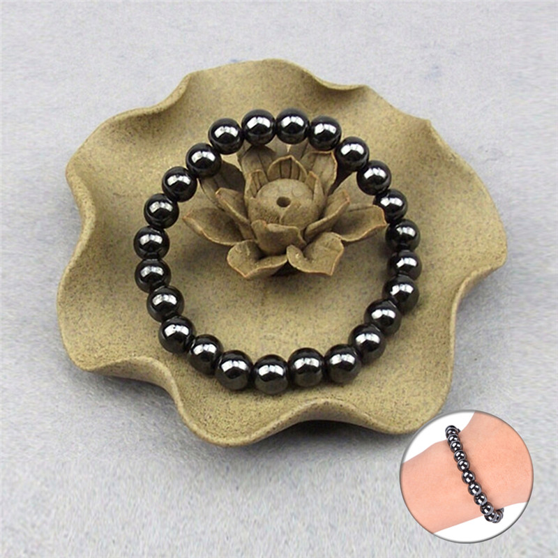 New 1Pc Slimming Bracelet Unisex Weight Loss Round Black Stone Magnetic Therapy Luxury Bracelet Health Care Tool