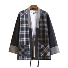 New Japanese Men Cotton Plaid Kimono Japan Haori Outterwear Hanten coat Fashion male samurai clothing Kimono Yukata Clothes
