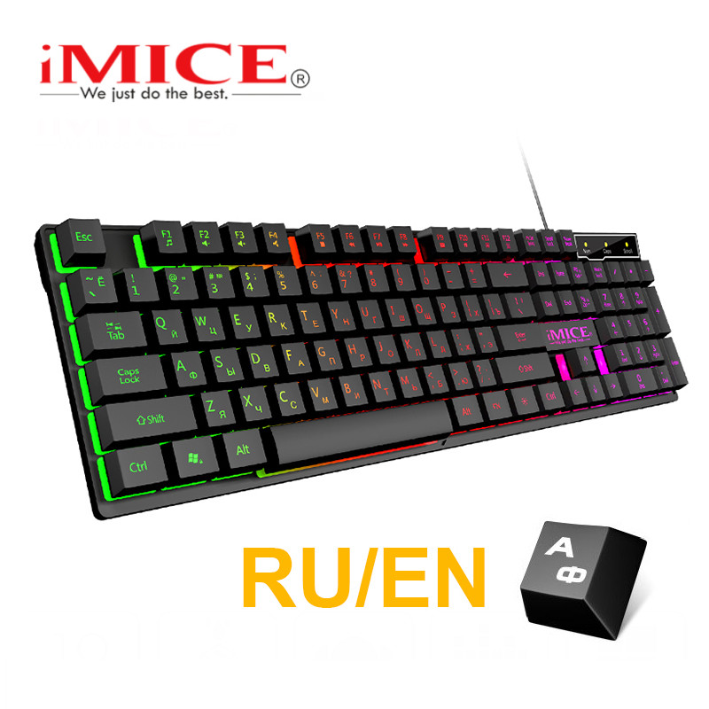 Russian Keyboard Computer-Game Mechanical-Feeling Backlit 104 Keycaps Waterproof Wired title=