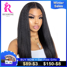 RESHINE Kinky Straight Hair Wig 13x4x1 Transparent Lace Frontal Wig 180% 4x4x1 T PART WIG European Yaki Straight Human Hair Wig