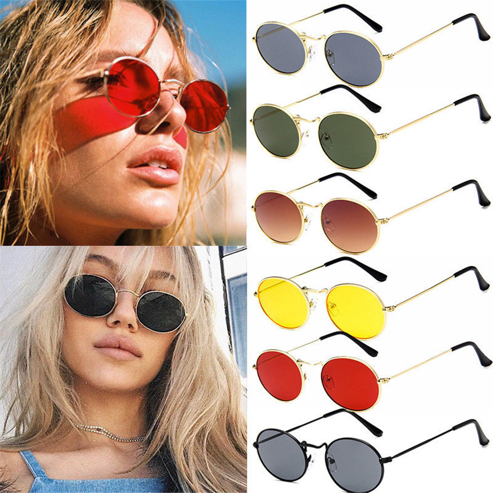 Sunglasses Frame Motorcycle Retro Vintage Women/men Anti-Uv Fashion Metal Shades Ellipse title=