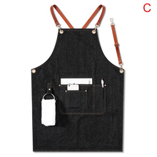Avental denim cinta bib avental barista bartender churrasco chef uniforme workwear dtt88