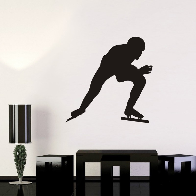 DCTAL Speed Skating Car Sticker Decal Skiing Ice Sports Posters Vinyl Wall Decals Pegatina Decor Mural Sticker