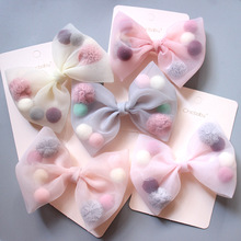 Hair-Accessories Clip Lace Bow Duck Plush-Ball Pink Princess-Style Colorful Korean New