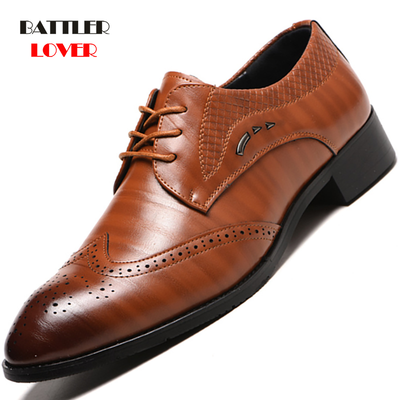38-48 Fashion Genuine Leather Brogue Shoes Men Dress Shoe Pointed Oxfords Shoes For Men Lace Up Designer Luxury Men Formal Shoes
