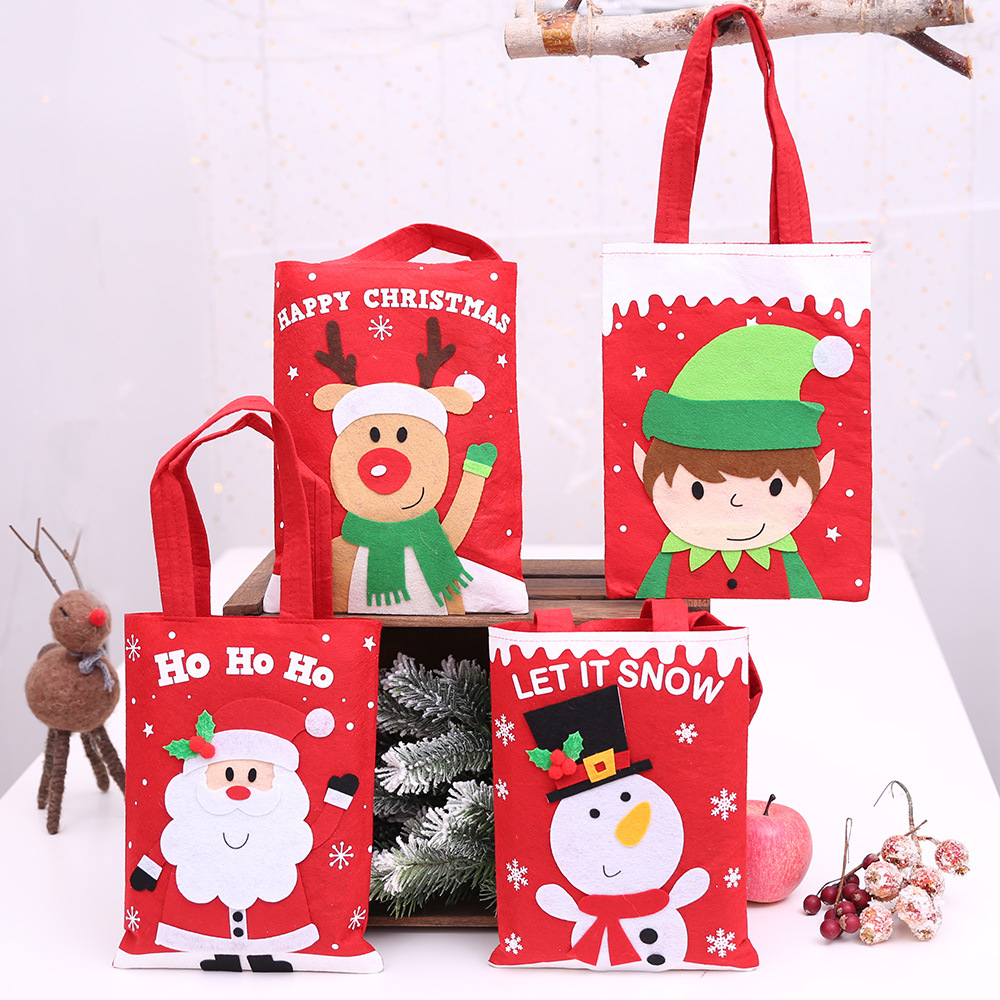 4pcs Christmas decorations children/'s Gift Bag Christmas cartoon old man atmosphere Decoration Christmas Candy carrying gift bag