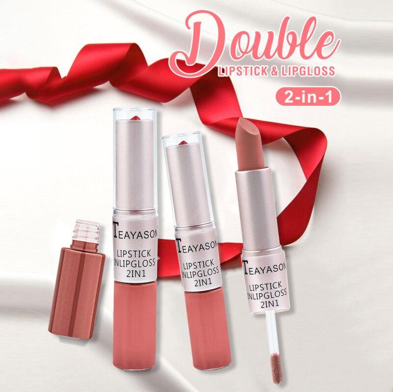 Double Head 2-in-1 Lasting Matte Pastel Color Lip Gloss Liquid Lipstick