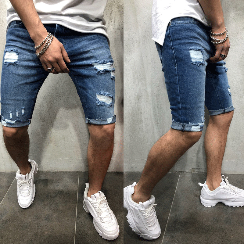 Mens Denim Chino Shorts Super STRETCH Skinny Slim Summer Half Pant Cargo Jeans title=