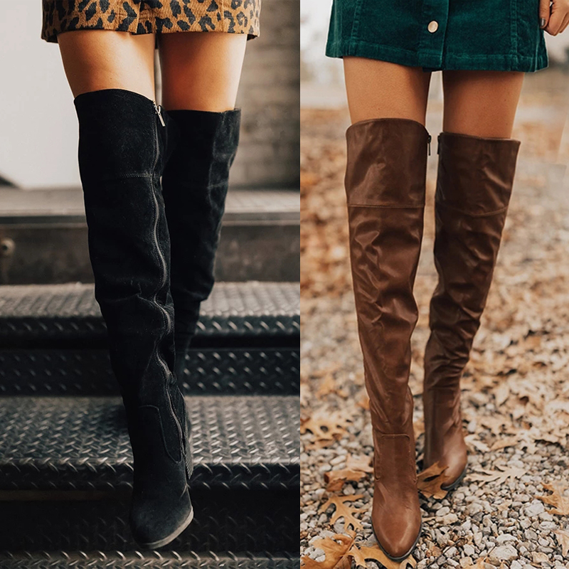 Litthing Faux Suede Slim Boots Sexy Over The Knee High Women Fashion Winter Thigh High Boots Shoes Woman Fashion Botas Mujer