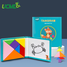 Magnetic 3D Puzzle Jigsaw Tangram Game Montessori Early Learning Educational Drawing Board Geometry Cognitive Toy Gift For Kids