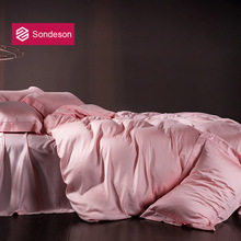 Sondeson Luxury Women Beauty 100% Silk Noble Pink Bedding Set Silky Queen King Duvet Cover Flat Sheet Pillowcase Quilt Cover