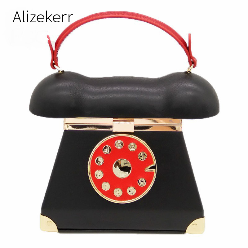 Creative Telephone Box Handbag Women Personality Rivet Hard Panelled Phone Evening Clutch Shoulder Bag Black Purse With A Mirror