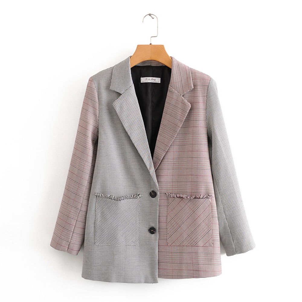 2020 Spring Women/'s New Collar Long Sleeve Fashion Trend Wild Slim Thin Colorblock Plaid Casual Blazer