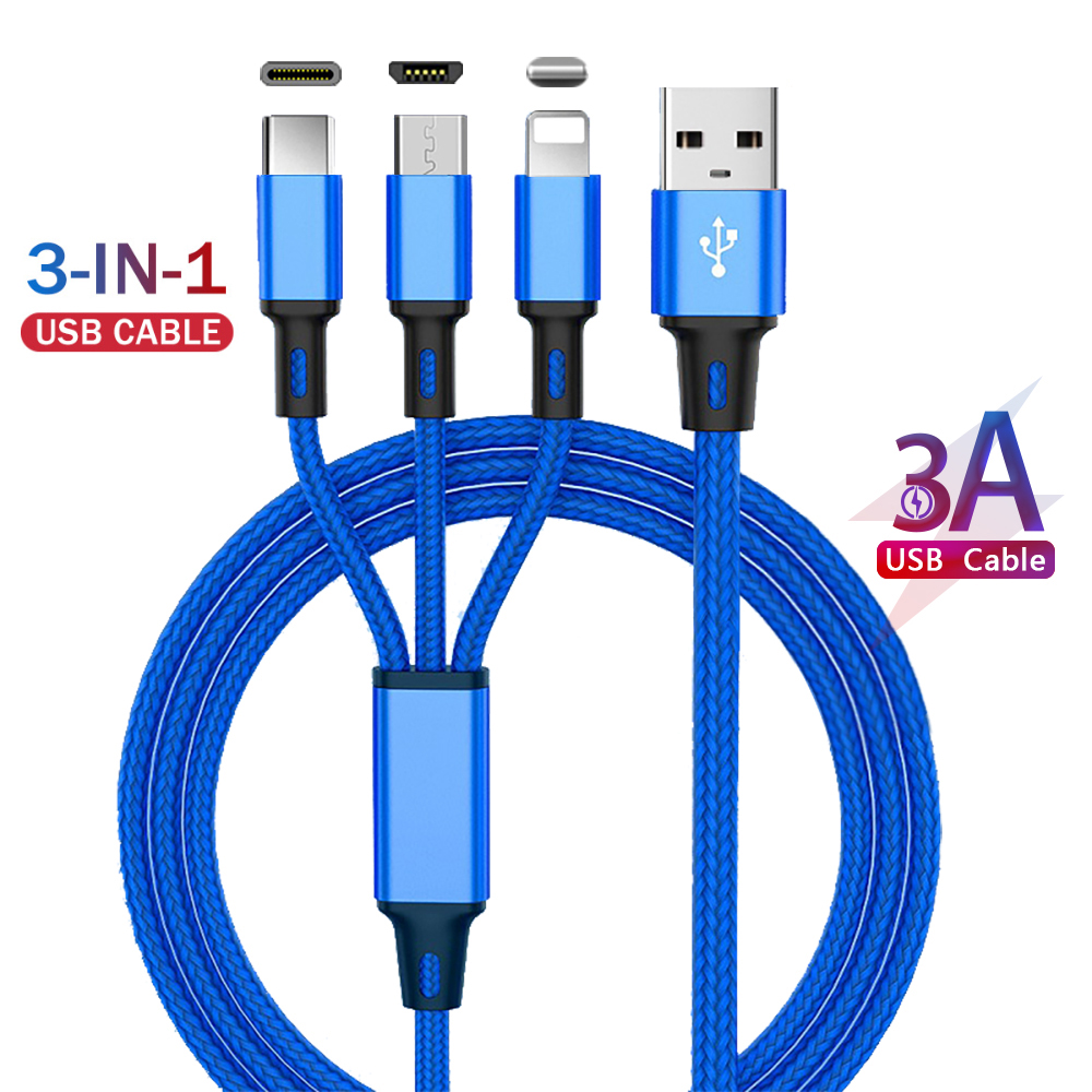 3 In 1 USB Fast Charging Cable Nylon Woven More Durable For iPhone 7 8 X 11 Huawei P30 Mate 30 pro Mini Portable Simple Cable