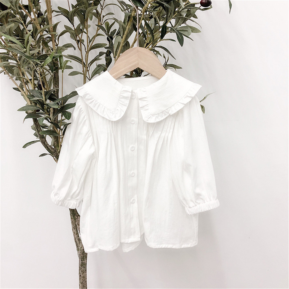 Spring Autumn Long Sleeve Girls Blouse White Shirts Cotton Shirt Kids Blouse Baby Toddler Tops Turn-down Collar Children Clothes