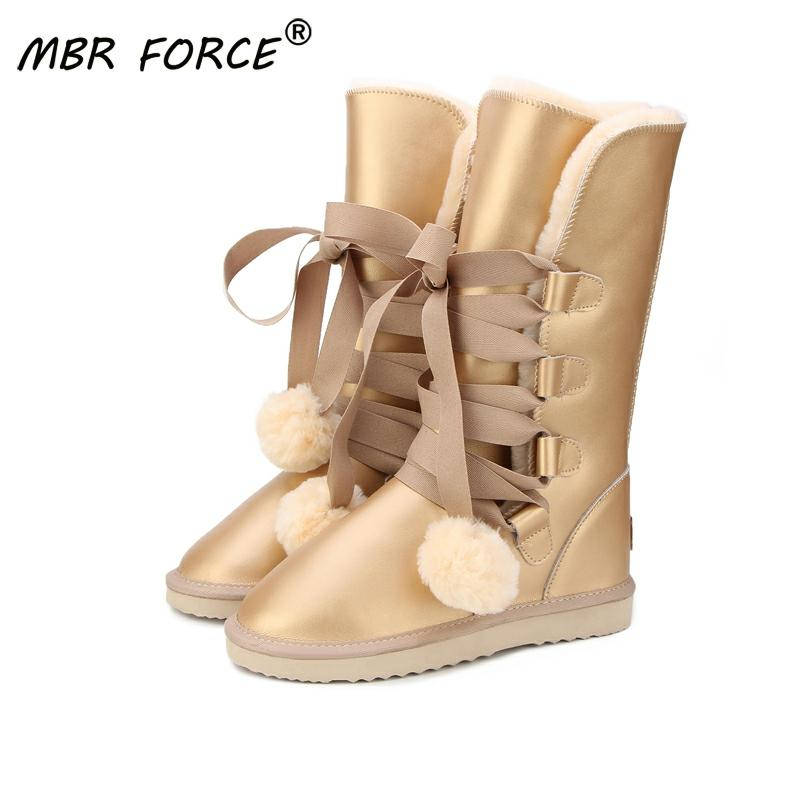 MBR FORCE  Classic Women Snow Boots Leather Winter Shoes Boot bota feminina botas mujer zapatos Women waterproof Snow Boots