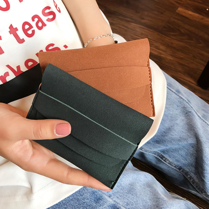 Student Coin Purses Women Mini Money Pocket Frosted Female Short Wallet Soft Coins Bag Pumping Belt