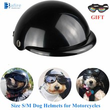 Dog-Helmet Decorative Bike Motorcycle Black Size for Doggie Hat with Goggles 1-Pc Safe