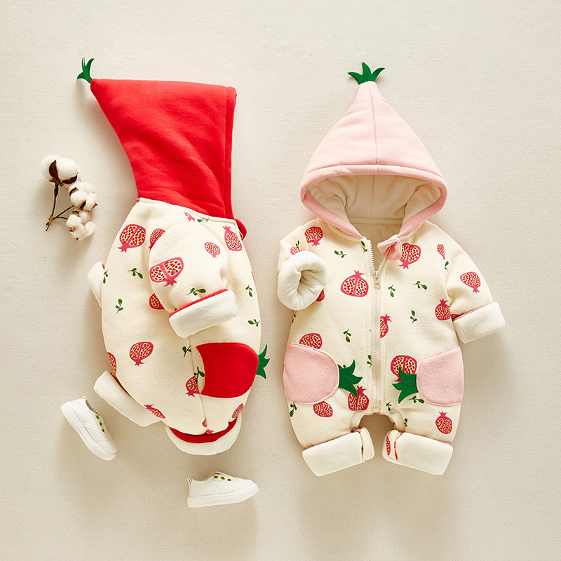 HYLKIDHUOSE 2019 Winter Baby Girls Rompers Toddler Infant Newborn Jumpsuits Warm Thicken Hooded Outdoor Child Rompers Kids Coats