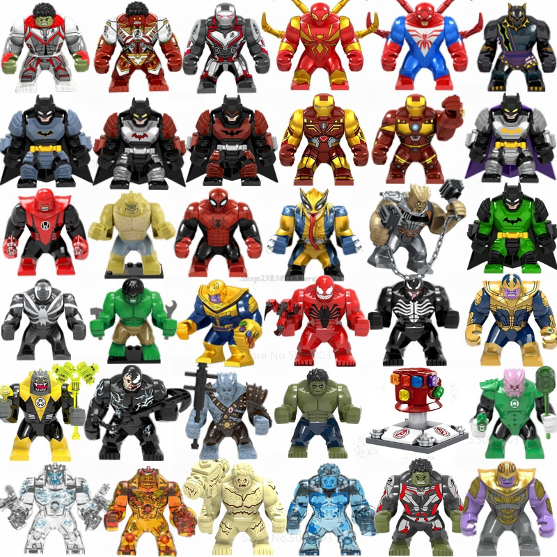 Legoing Marvel Spider Man Super Heroes Avengers Batman Thanos Iron Mans Hulk Movie Big Figures Toys For Children Legoings Blocks