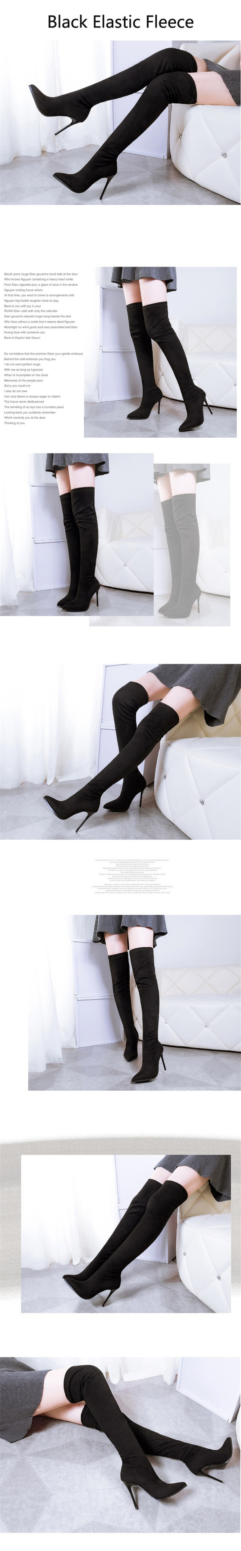 D Knight Sexy Pointed Toe Women Stiletto High Heel Over The Knee Boots Fashion Nightclub Stretch Women's Thigh High Boots Shoes (6)