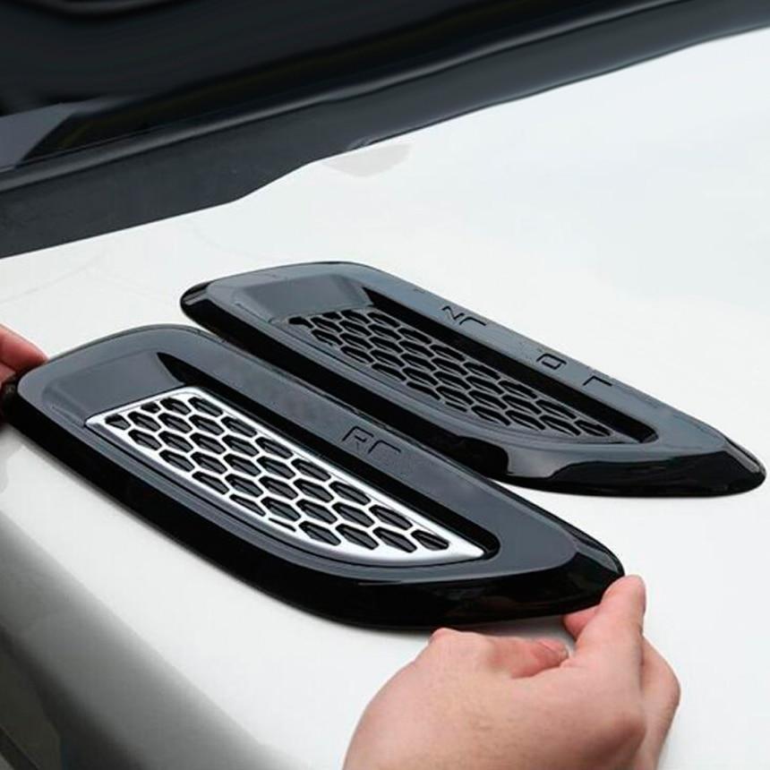 2Pcs Car Front Hood Decor Shark Gill Intake Vent Engine Covers Car Bumper Strips