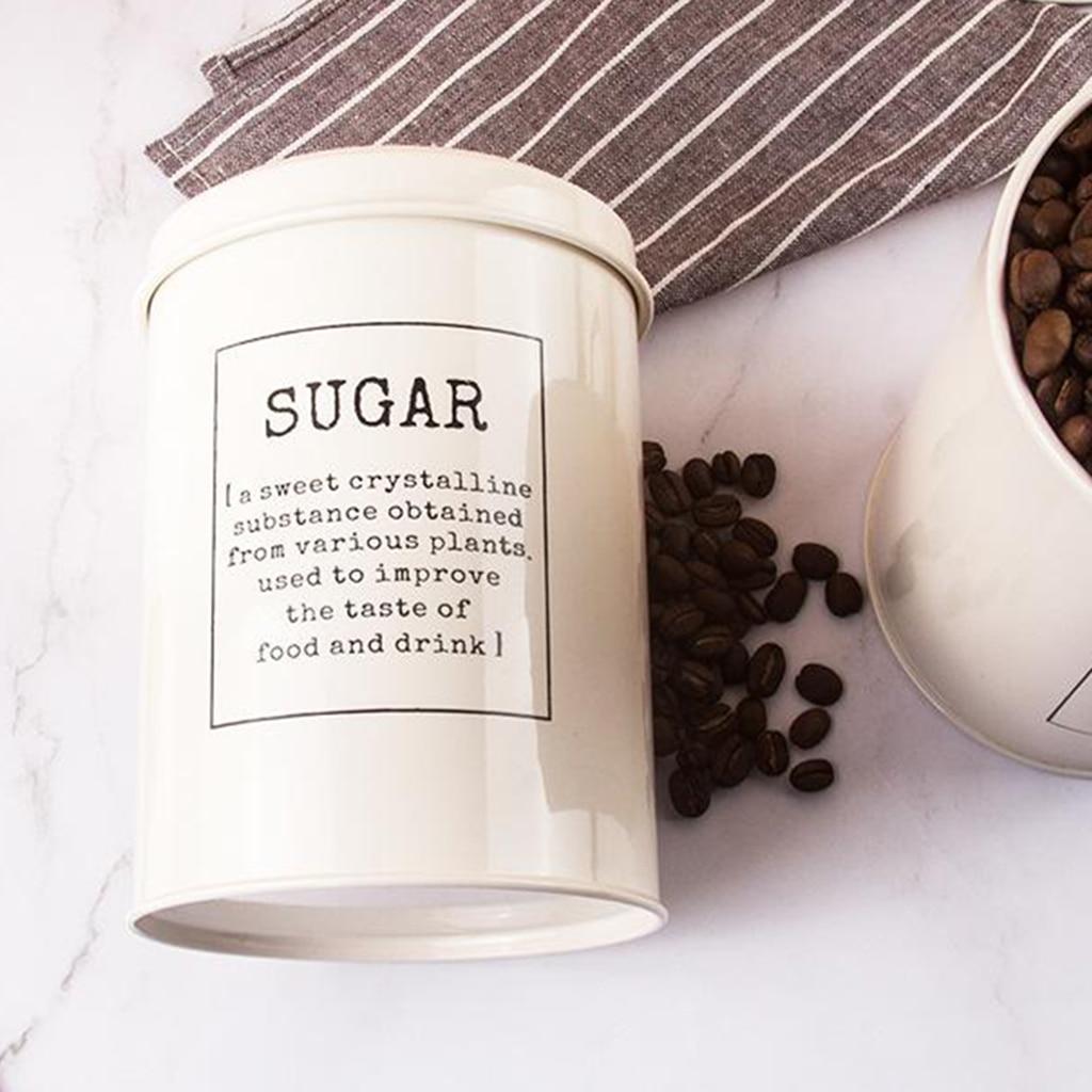 Set of 3 Metal Tea Coffee Sugar Storage Jars Canister Bin Pot Kitchen Container