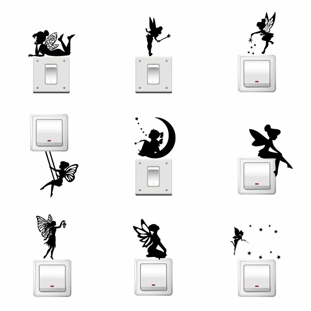 Fée interrupteur Stickers Mural PACK Silhouette Fée Clochette Etoiles