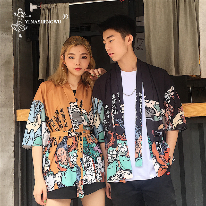 Japanese Kimono Traditional Yukata Kimono Femme Couple Kimonos Cardigan Men Women Asia Cosplay Costume Japan Kimono  Shirt Women