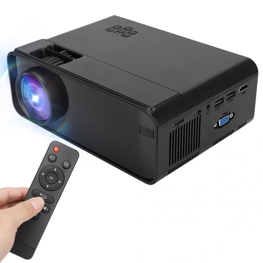 Mini Home Projector Portable LCD Projector Media Player Smooth and Clear Images Remote Control Operation Black 110-240V US