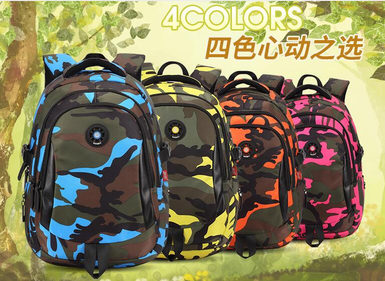 Camouflage schoolbags for pupils in grades 1-3-5