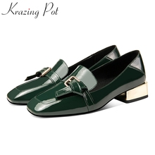 Women Pumps Dress Loafer Spring-Shoes Round-Toe Med-Heels Office Big-Size on Solid Slip