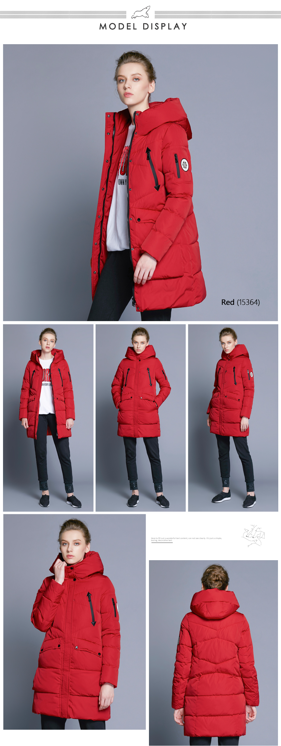 ICEbear 19 New Women Winter Jacket Coat Slim Winter Quilted Coat Long Style Hood Slim Parkas Thicken Outerwear B16G6155D 7