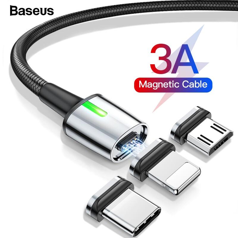 Магнитный Micro USB кабель Baseus для быстрой зарядки iPhone samsung, Магнитный зарядный адаптер usb type C, кабели для мобильных телефонов