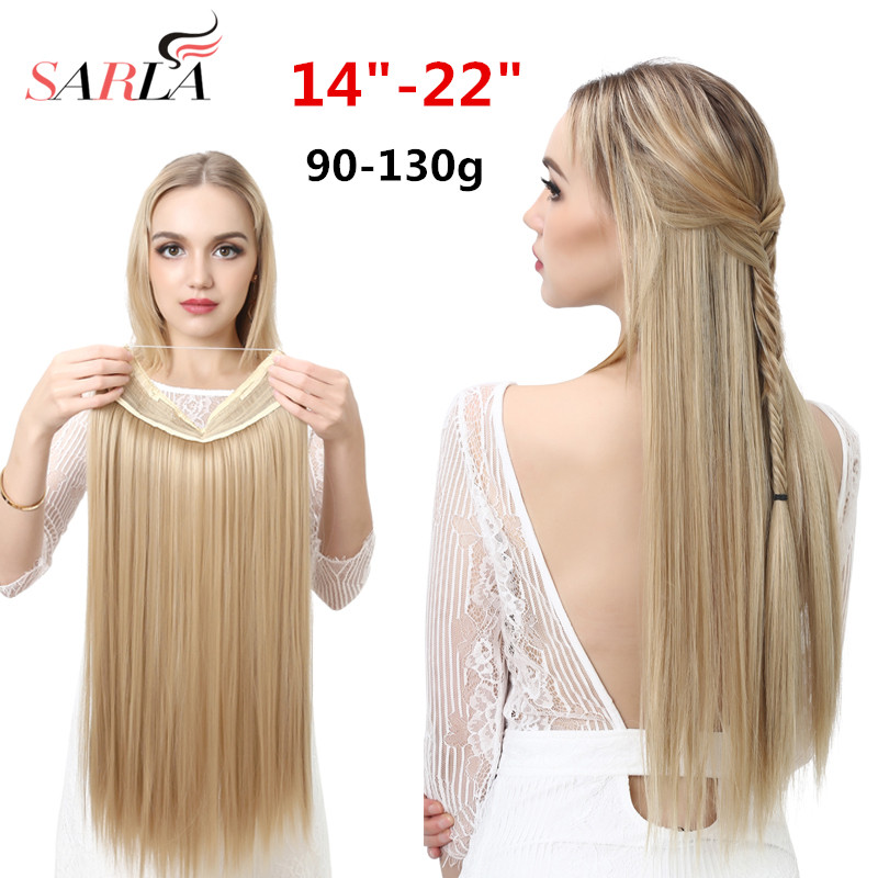 SARLA Wire Halo Hair Extension Invisible Ombre Straight Hidden Secret Crown Flip False Synthetic Hair Pieces For Women M02 title=