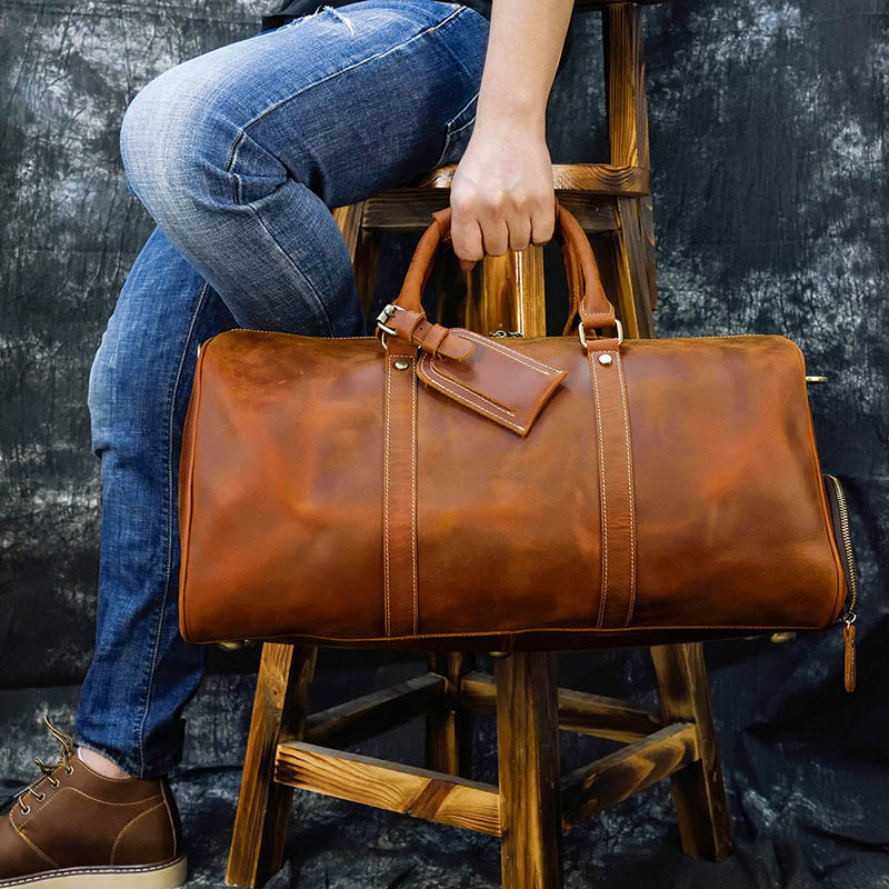 "20/"" Men/'s Brown Vintage Genuine Leather Cowhide Travel Luggage Duffle Carry Bag"