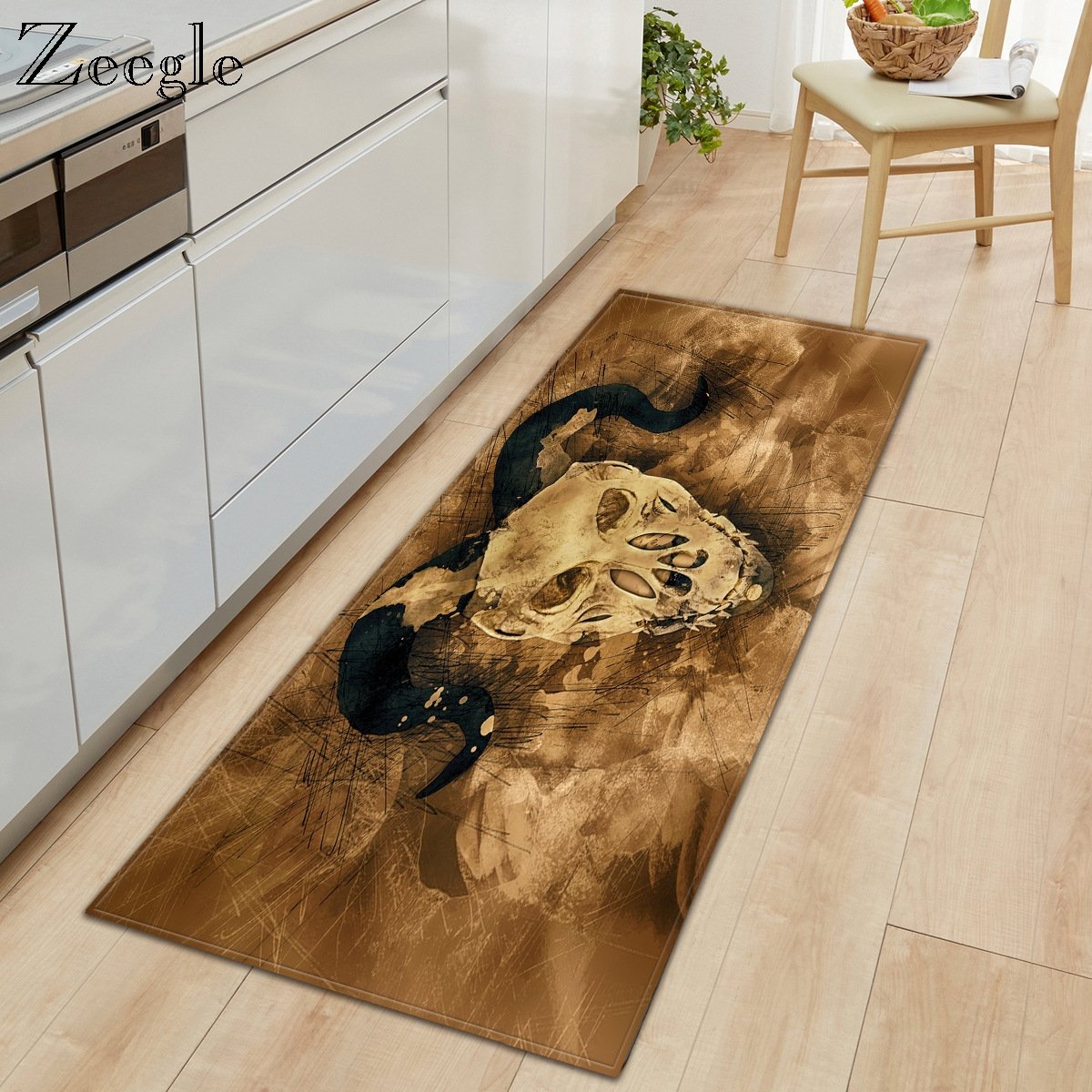 Zeegle Carpet Anti-slip Kitchen Rug Living Room Decoration Floor Rug Absorbent Bathroom Doormat Shower Mat Bedside Carpet Mat
