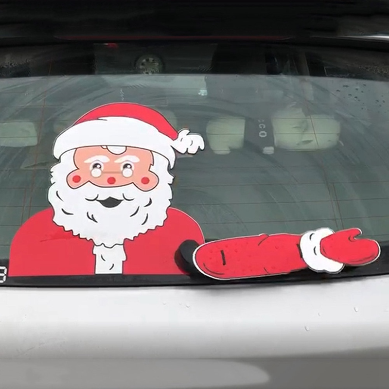 Xmas Car Stickers Car Rear Windshield Decals Christmas Decoration Waving Wiper Stickers Car Styling Rear Window Wiper Stickers