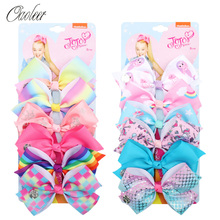 6 Pieces/Set Jojo Siwa JOJO BOWS Rainbow Printed Knot Ribbon Bow For Girls Handmade Boutique