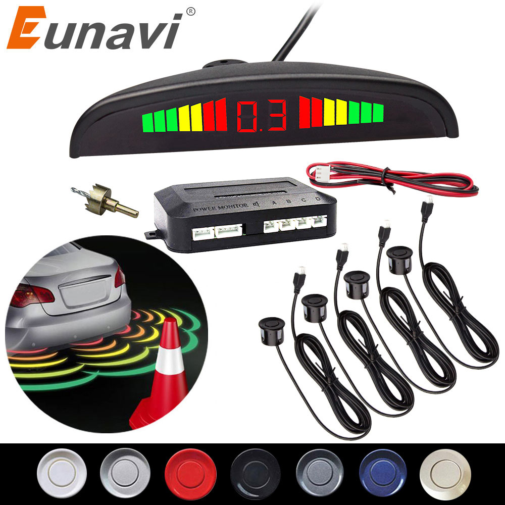 Eunavi 1set Auto Parktronic Led Parking Sensor Kit Display 4 Sensors For All Cars Reverse Assistance Backup Radar Monitor System