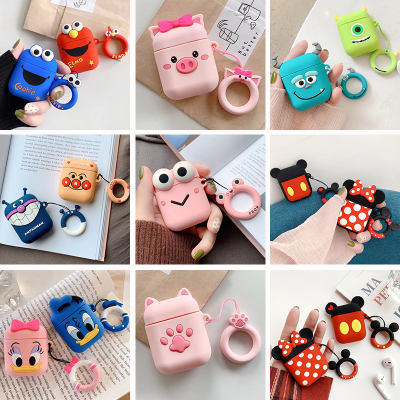 Case Cover Protective-Cases Earphone Bluetooth-Headset Apple Airpods Soft-Silicone Cartoon title=