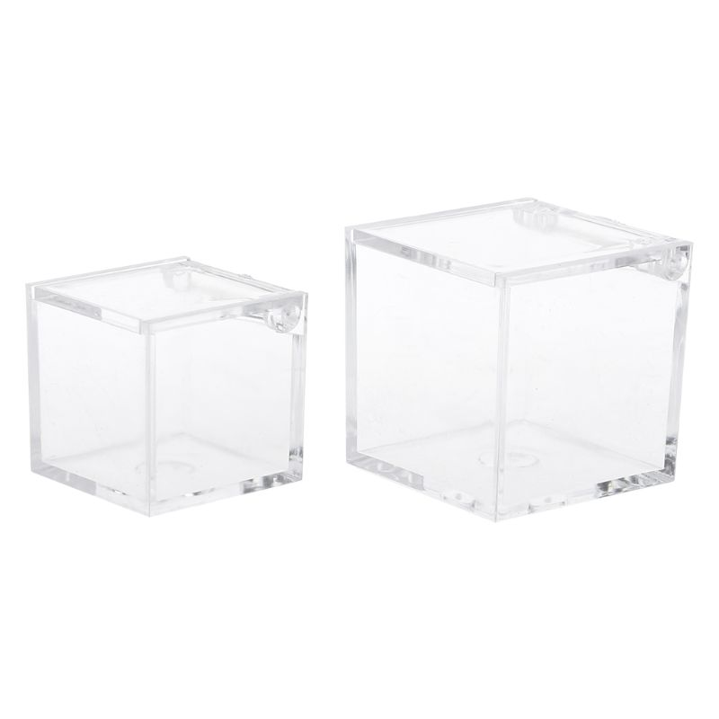 12pcs Transparent Cube Wedding Favor Candy Box Plastic Clear Gift Boxes Party