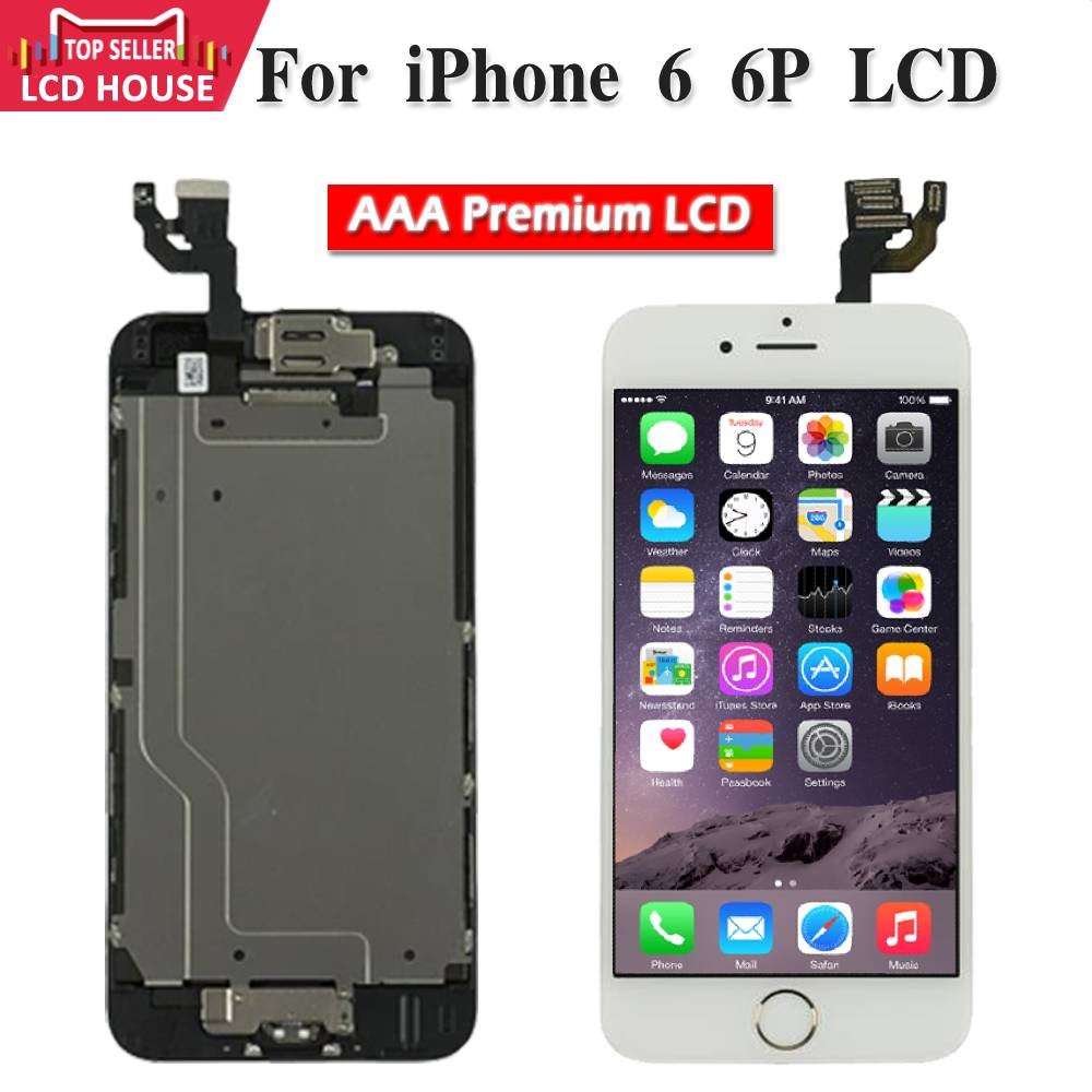 Full Set LCD Display For iPhone 6 6plus LCD Touch Screen Home Button Front Camera Tools Parts Replacement Assembly A1524 A1522
