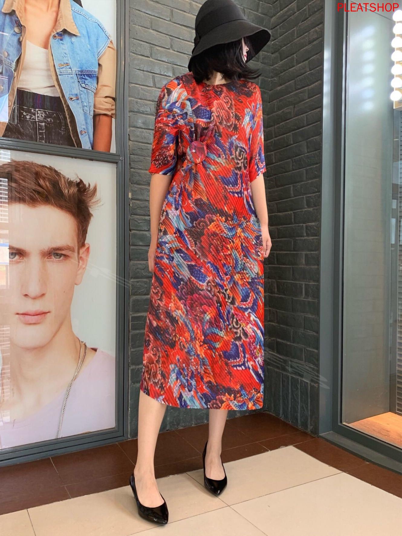 Miyake Pleats Summer New Dress Dragon And Phoenix Printed Mid-Length Slim-Fit dress women elegant vestidos women clothes