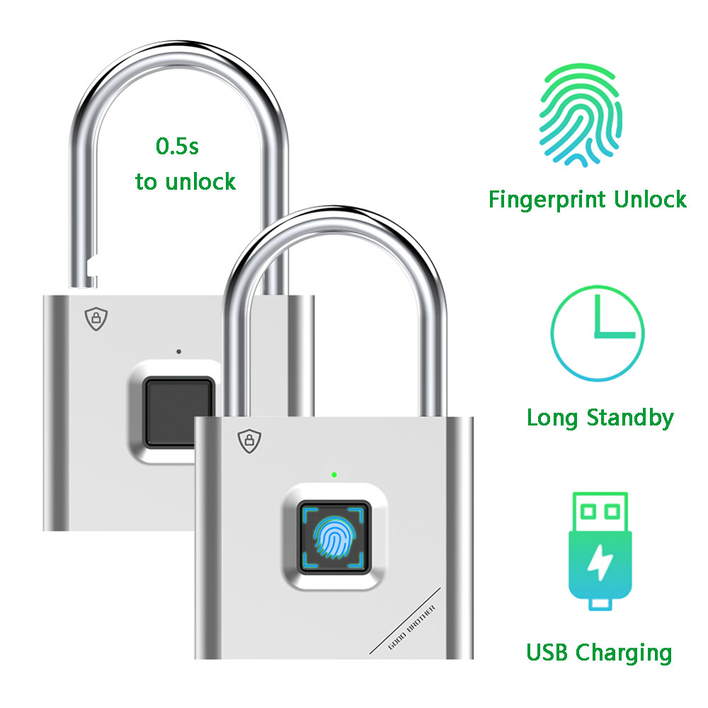 Thumbprint Door Padlocks Rechargeable Door Lock Fingerprint Smart Padlock Quick Unlock Keyless USB title=